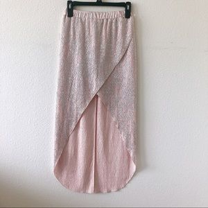 River Island slit skirt pale pink and silver